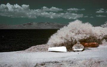 небо, облака, горы, море, лодка, италия, остров, сардиния, инфракрасный снимок