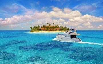 море, пляж, яхта, остров, тропики