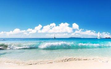 море, пляж, яхты