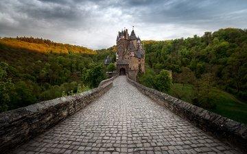 деревья, горы, мост, замок, германия, замок эльц
