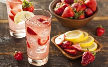 drink, strawberry, ice, lemon, berries, glass, lemonade