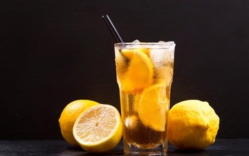 напиток, лето, лёд, черный фон, стакан, трубочка, лимоны, лимонад