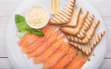 лимон, сыр, хлеб, рыба, тосты, лосось, нарезка, базилик