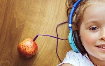 настроение, музыка, наушники, девочка, креатив, лицо, яблоко