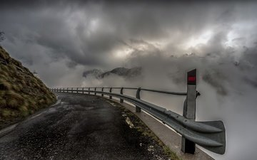the sky, road, fog