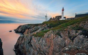 небо, камни, море, маяк, горизонт, рассвет, побережье, франция, saint mathieu