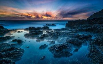 the sky, stones, sunset, horizon, coast, the ocean, tropics, hawaii, oahu