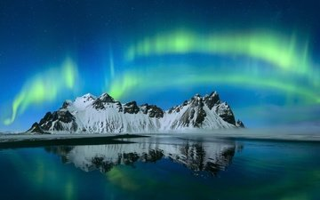 the sky, night, mountains, northern lights, iceland, have stoknes