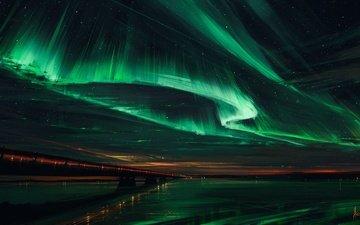 небо, ночь, мост, северное сияние, aenami