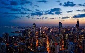 небо, облака, огни, закат, город, небоскребы, иллинойс, чикаго, городской пейзаж, озеро мичиган