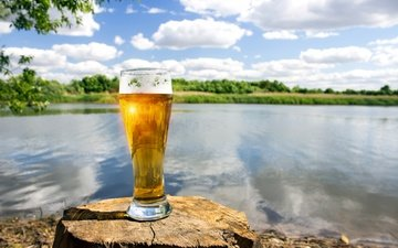 the sky, clouds, river, the sun, shore, mood, landscape, summer, glass, beer, stump