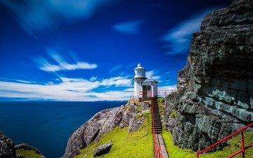 the sky, clouds, rocks, the sun, stones, ladder, sea, lighthouse, horizon, coast, ireland, hill