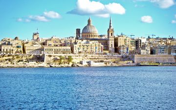 the sky, clouds, water, shore, cathedral, the city, architecture, island, port, harbour, malta, valletta