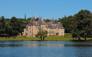 the sky, lake, river, castle, tower, house, gothic, architecture, the building, france, oizon, chateau de la verrerie