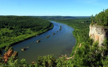 the sky, trees, river, forest, mountain, russia