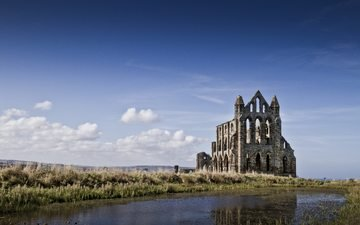 the sky, water, river, uk, ruins, england, church, gothic, architecture, the building, history, yorkshire, whitby