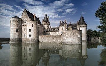 небо, замок, франция, chateau de sully sur loire, замок сюлли-сюр-луар, сюлли-сюр-луар