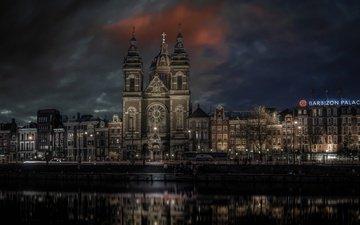 ночь, дома, отель, нидерланды, амстердам, prins hendrik