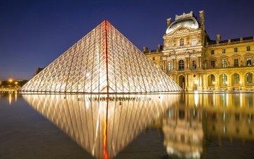 ночь, фонари, огни, иллюминация, париж, фонтан, пирамида, дворец, франция, площадь, лувр