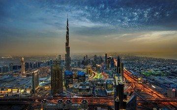ночь, город, здания, дубай, бурдж-халифа
