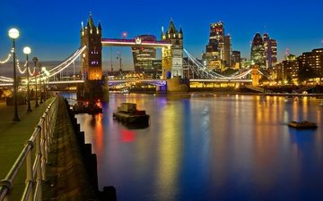 night, lights, river, london, thames, england, tower bridge