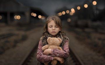 night, railroad, rails, bear, girl, toy, child, closed eyes, sveta butko