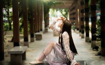девушка, парк, модель, сидит, ножки, позирует, азиатка, chang