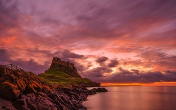 clouds, stones, rock, mountain, england, glow, holy island, lindisfarne