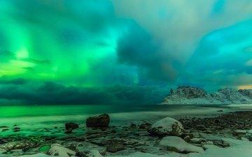 clouds, rocks, stones, shore, sea, norway, the lofoten islands
