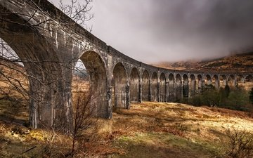 clouds, scotland, viaduct, glenfinnan