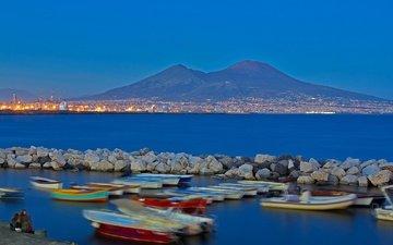 огни, гора, лодки, залив, италия, неаполь, везувий