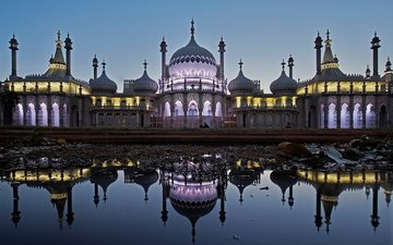 lights, reflection, england, architecture, sussex, brighton, the royal pavilion