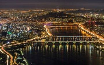 огни, панорама, город, мегаполис, сеул, южная корея