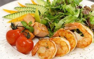 зелень, овощи, салат, морепродукты, креветки