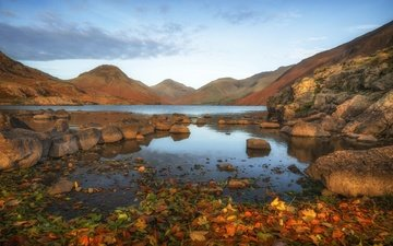lake, mountains, stones, leaves, landscape, autumn, england