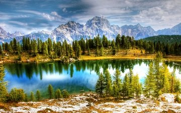 the sky, clouds, trees, lake, mountains, snow, nature, forest, reflection, the dolomites