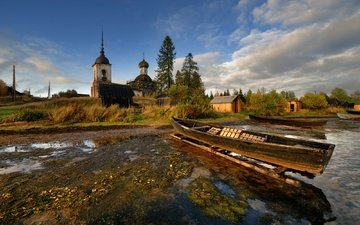 lake, temple, boats, the village, arkhangelsk oblast, lekshmozero