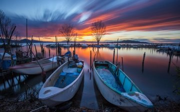 lake, sunset, boats, long exposure, umbria, italia