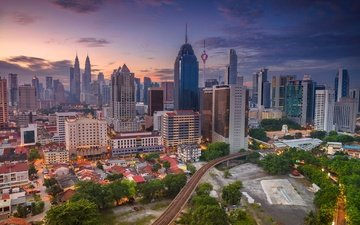 панорама, небоскребы, башня, дома, небоскрёб, малайзия, куала-лумпур