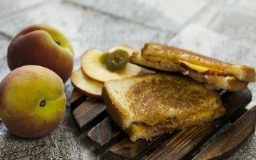 фрукты, хлеб, персики, сэндвич