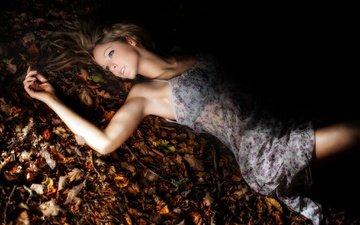 girl, dress, foliage, look, autumn, hair, face, pascal martin, amandine