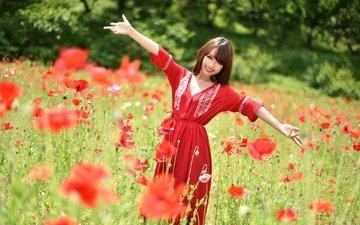 цветы, девушка, платье, улыбка, поле, лето, взгляд, мак, волосы, лицо, азиатка