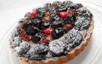 ягоды, вишня, выпечка, пирог, посыпка