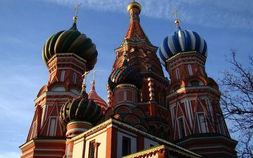 небо, храм, москва, покровский собор, россия, церковь, здание, купол