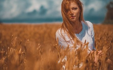the sky, girl, field, look, red, ears, hair, face, bokeh, redhead