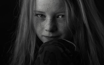 portrait, black and white, girl, face, freckles