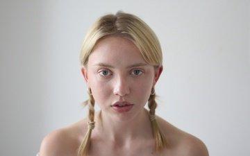 girl, blonde, portrait, look, hair, face, braids, bare shoulders, helen