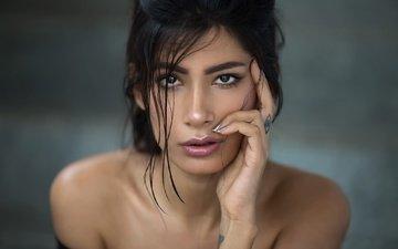 девушка, портрет, взгляд, модель, тату, волосы, лицо, макияж, махараштра, aasttha