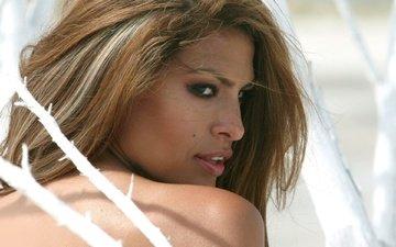 портрет, взгляд, модель, профиль, актриса, ева мендес