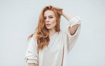 портрет, взгляд, рыжая